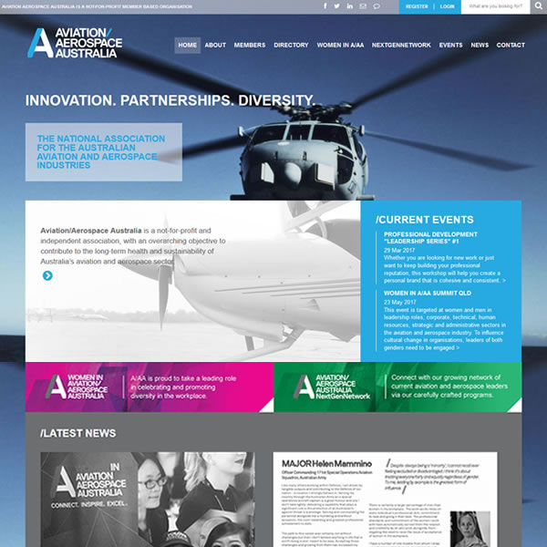 Aviation Aerospace | Design | PHP | CSS | JS | Echo3 DreamCMS | www.aviationaerospace.org.au
