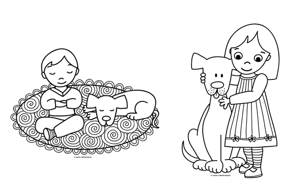 Illustrations for Canine Comprehension Colouring Page