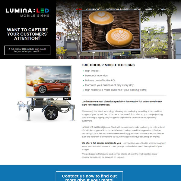 Lumina LED | Design | PHP | CSS | JS | Echo3 DreamCMS | www.luminaled.com.au